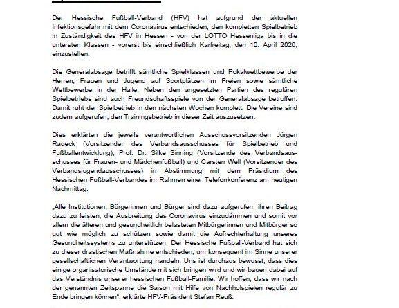 TSG 1846 Mainz-Kastel – Spiel- und Trainingsbetrieb ruhen –